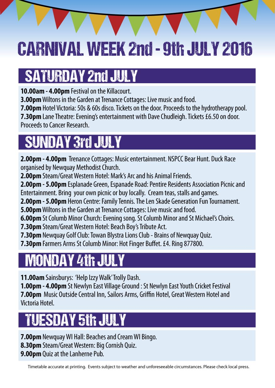 Newquay Lions - Carnival programme 2016-2