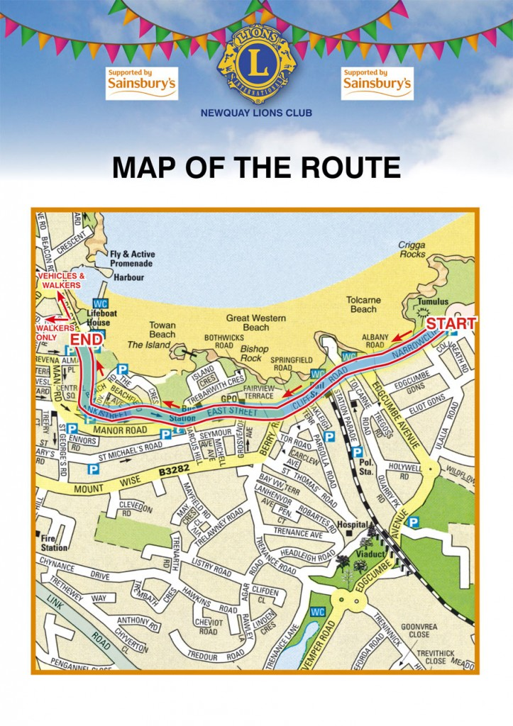 Newquay Carnival map