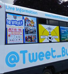 Tweet Bus promoting Newquay Carnival