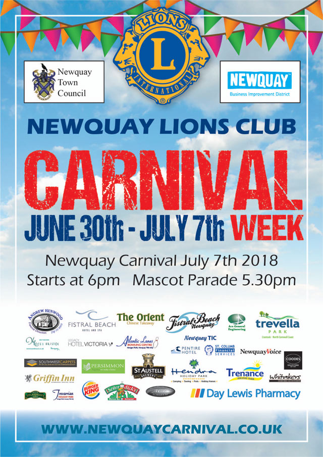 Newquay Carnival Week: June 30th - July 7th.