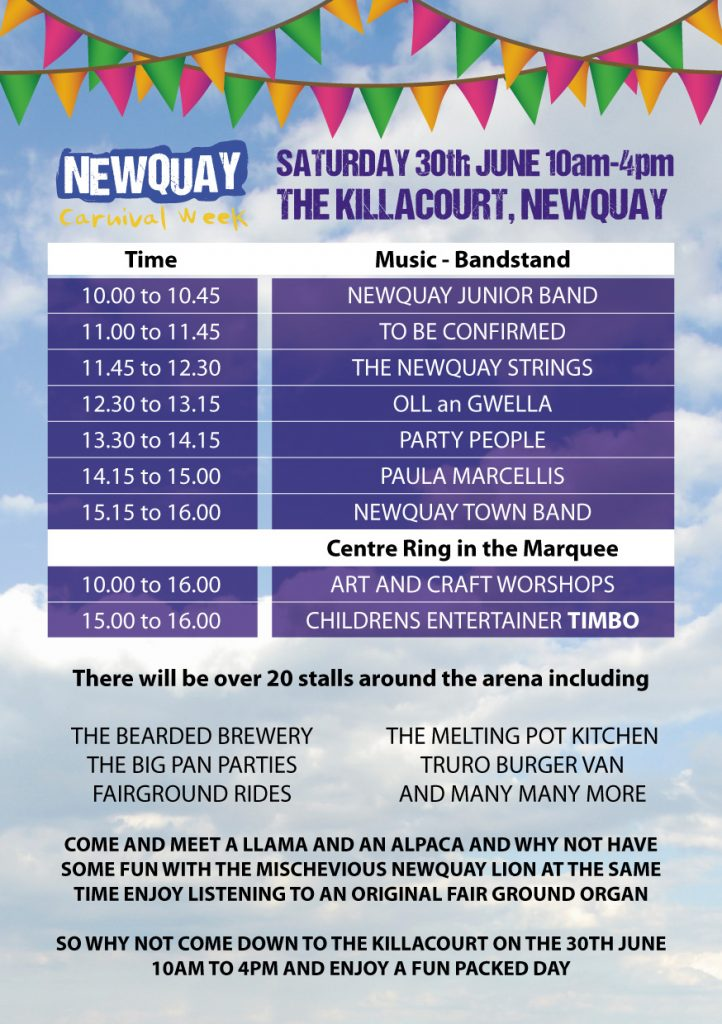 Newquay Lions - Carnival programme 2018. Events at the Killacourt